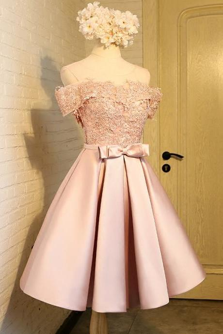 Pink Short Lace Homecoming Dresses 8th Grade Prom Dresses Junior High Cute Graduation Formal Dresses