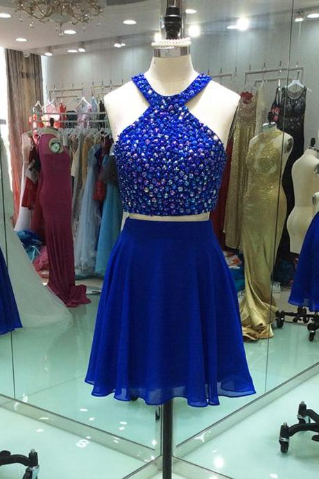 Royal Blue 2018 Homecoming Dresses A-line Halter Short Mini Chiffon Beaded Crystals Two Pieces Elegant Cocktail Dresses