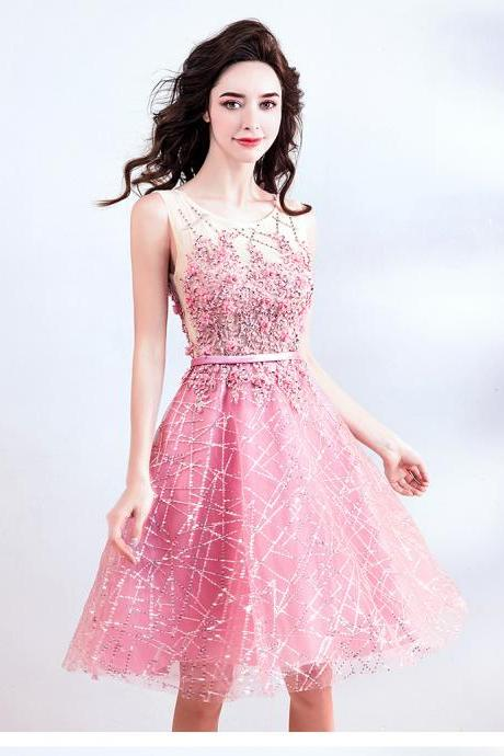 2018 Elegant Pink Short Wedding Party Dresses Appliques Beaded Sequins Girls Homecoming Party Dress Formal Gowns