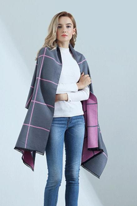 Fashion Grid Womens Scarves Pareo Wraps Soft Warm Spring Autumn Cashmere Scarf Blankets Shawls Cloaks Gray and Pink
