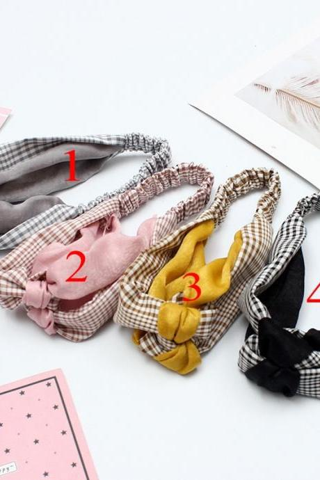 1pc Women Summer Cross Elastic Hair Bands Patchwork Knot Face Wash Headband Grid Headwear Head Wrap Hair Accessories for Girls