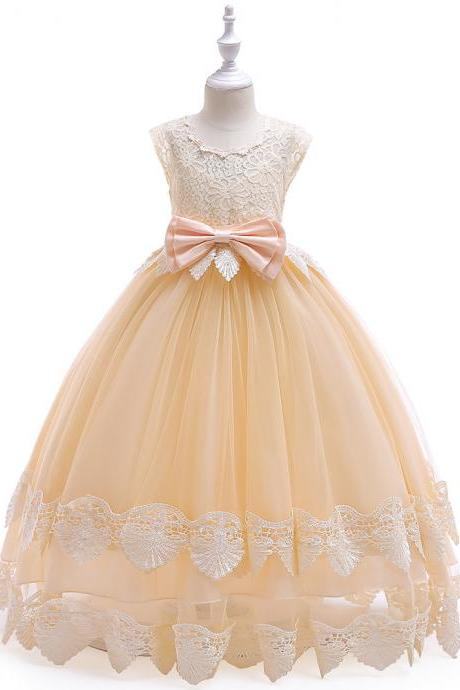 Champagne Flower Girl Dresses Floor Length Tulle Girls Wedding Party Dress with Lace Bow