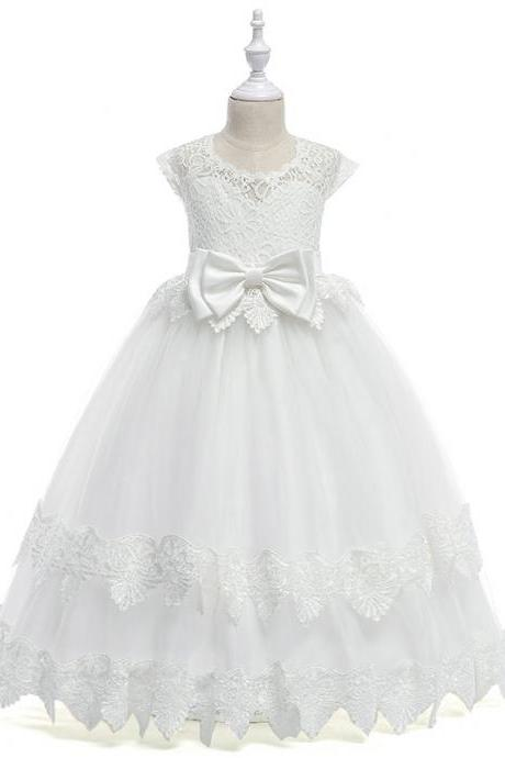 White Flower Girl Dresses Floor Length Tulle Girls Wedding Party Dress with Lace Bow