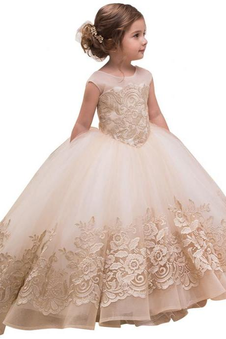 New Flower Girl Dresses For Weddings Lace Ball Gown Sleeveless Kids Evening Gown First Communion Dresses For Girls