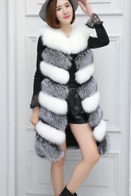 b4c1b4f2b3a Faux Fur Fashion Mixed Colors Womens' Winter Warm Vest X-Long Coat Jacket  Outwear