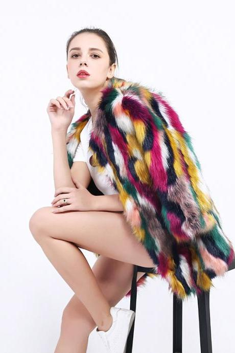 2018 Faux Fur Coats Colorful Jackets Women Winter Fox Fur Overcoat Soft Warm Rainbow Color Female Outerwear