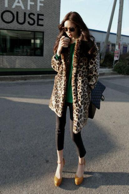 Leopard Fur Coat Long Sleeve Double Pocket Long Coat Female Flagship Models Faux Fur Coat Winter OuterWear Warm