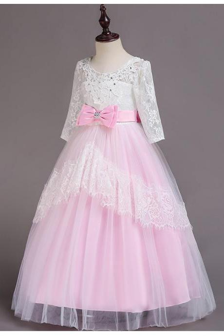 Lace tulle pink flower girls dress for wedding party