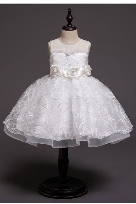 White Ball Gown Flower Girl Dress for Wedding party with Flowers