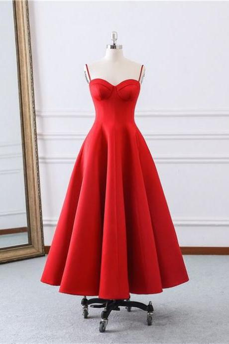 Cheap Vintage Tea Length Prom Dresses 2019 Spaghetti Straps Sweerheart Red Satin Party Gowns Custom Made