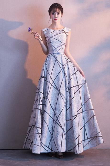 Elegant High Quality Long Silver Party Dresses A line Scoop Lace up Formal Evening Party Dress Gowns