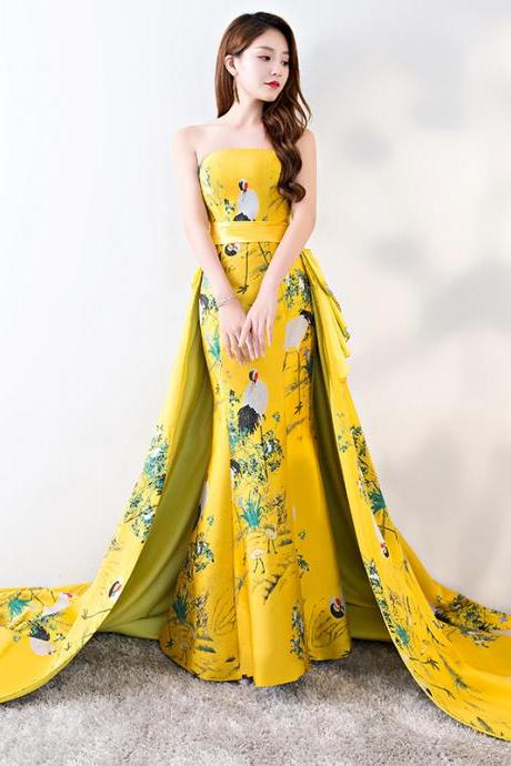 Fashion 3D Floral Print Formal Evening Dress Long Prom Dress Saudi Arabia Strapless Court Train Mermaid Satin Party Gown