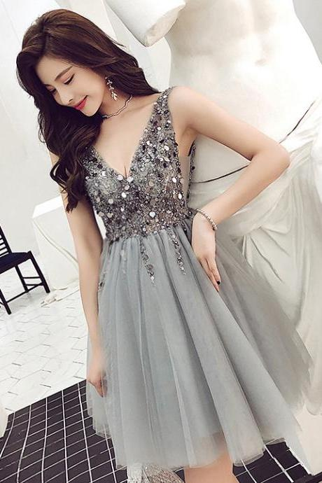 Gray Short Tulle Party Dresses A Line V neck Sequins beads Homecoming Dress Women Girls Formal Graduation Gowns