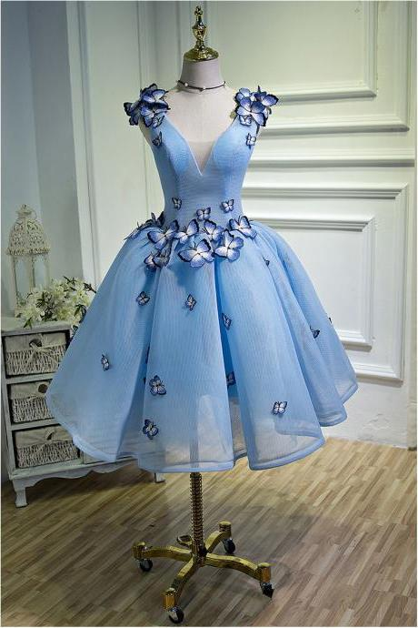 Ball Gown Elegant Blue Girls Homecoming Dresses 3D Butterfly Short Prom Party Dresses