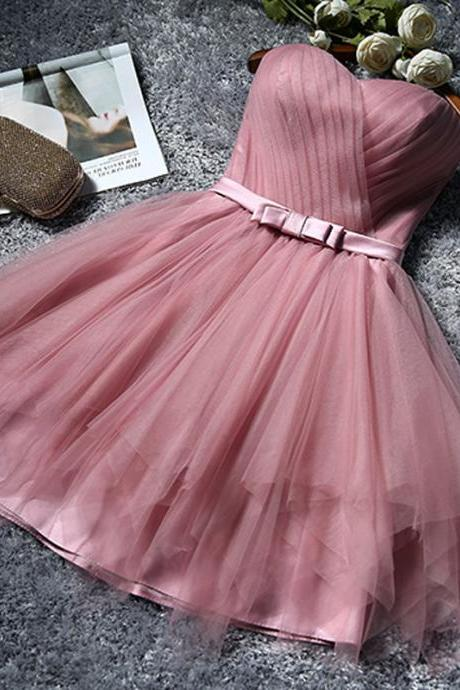 Hot Sale Cheap Short Bridesmaid Dresses A line Strapless Pleat Rubber Pink Tulle Party Dress for Weddings