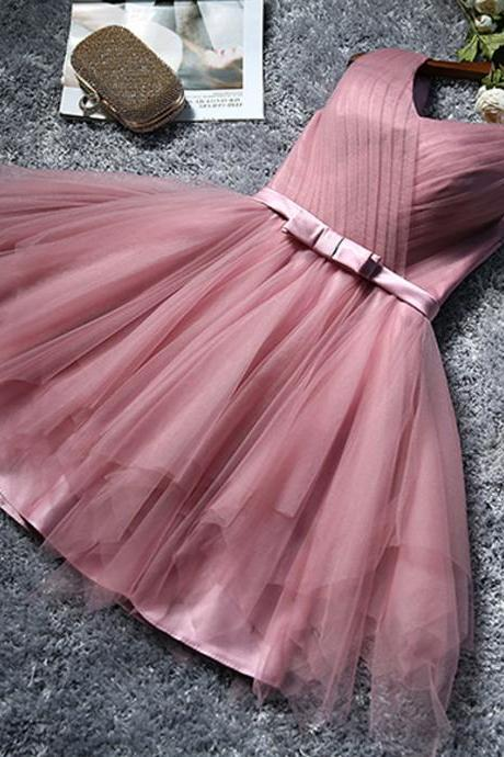 Hot Sale Cheap Short Bridesmaid Dresses A line V neck Pleat Rubber Pink Tulle Party Dress for Weddings