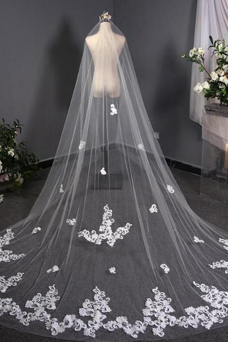 3m One Layer Wedding Veil With Comb White Lace Appliques Bridal Veils Cathedral Wedding Veil