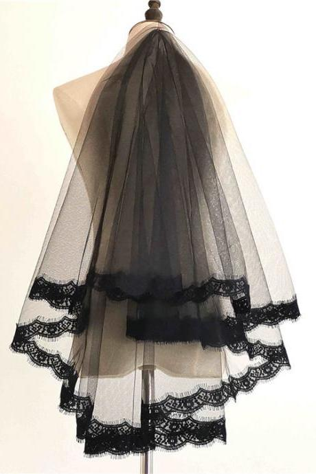 Wholesales Cheap 1.5M Bride Black Veil One Layer Wedding Veil Short Bridal Veil Appliqued