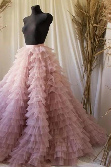 Custom Made Hot Gorgeous Dusty Pink Ruffles Bridal Tulle Skirts A-line Tiered Puffy Tutu Skirt Zipper Party Tutu