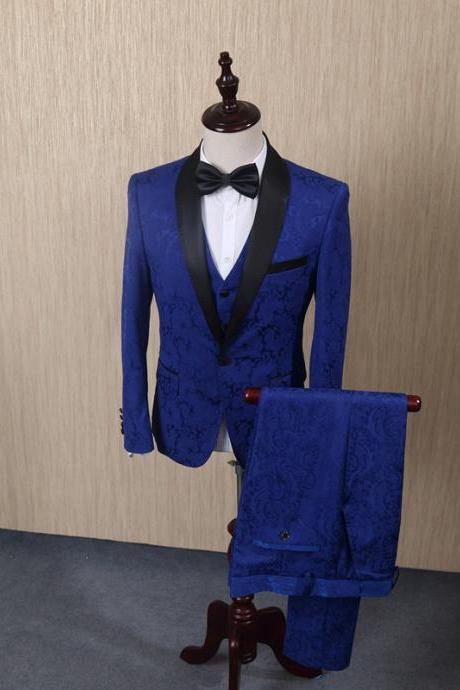 Blue Jacquard Men Suits For Wedding Groom Tuxedos Mens Suits Groomsmen Suit Formal Business Suits 3PCS Jacket+Vest+Pants
