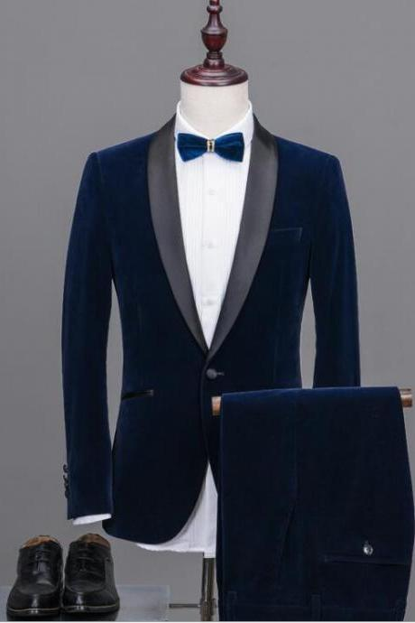 High Quality Terno Masculino Shawl Lapel Man Suits Groom Tuxedos Velvet Suit Tailored Wedding Suits (Jacket+pants)