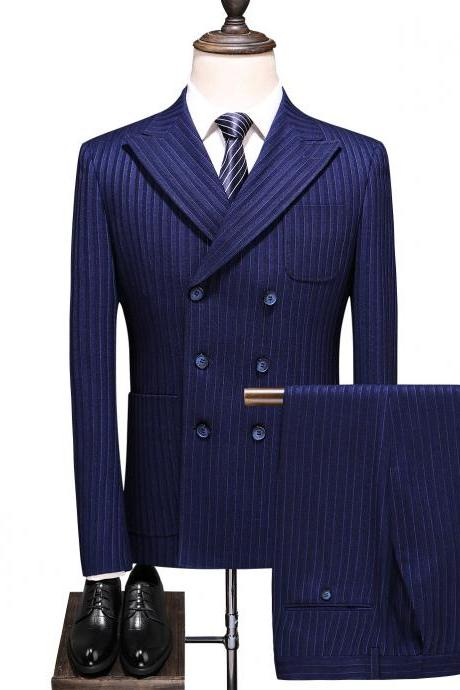 Men business Suits wedding tuxedo groom Gentleman Double Breasted Striped Three Piece Classic Casual Men's Suit Wear Dark Blue 6036
