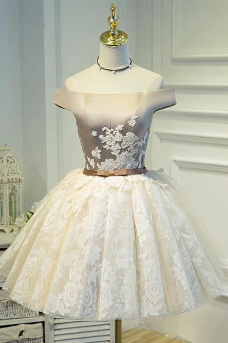Off the Shoulder Champagne Elegant Party Dress Girls Graduation Prom Dress Princess Short Formal Gowns