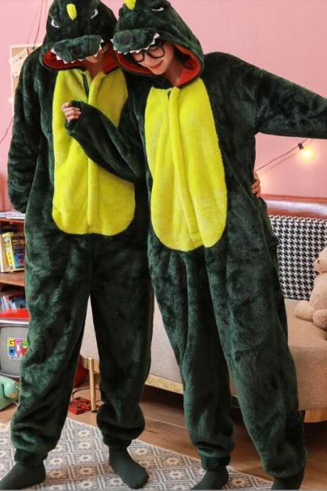 Warm Flannel dinosaur pajamas for women and man Pajama Couples Cartoon Sleepwear Adult Animal Unicorn Stitch Pajamas