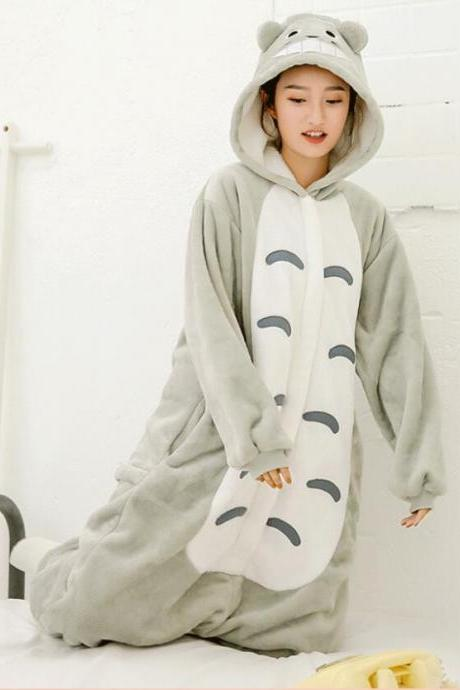 Warm Flannel Totoro pajamas for women and man Pajama Couples Cartoon Sleepwear Adult Animal Unicorn Stitch Pajamas