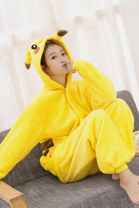 Warm Flannel Pikachu pajamas for women and man Pajama Couples Cartoon Sleepwear Adult Animal Unicorn Stitch Pajamas