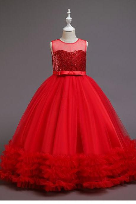 Red Ball Gown Flower Girl Dresses for Wedding Party Sequins Tulle Pleat Bow Floor Length O-neck Girls Pageant Prom Dress