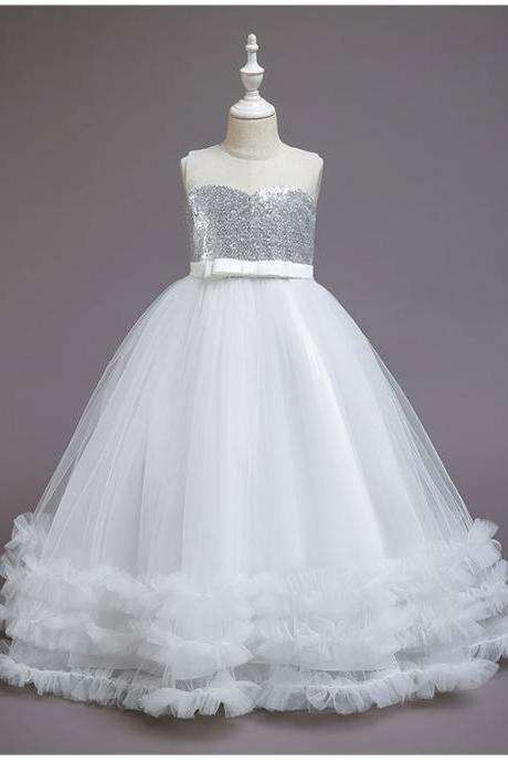 White Ball Gown Flower Girl Dresses for Wedding Party Sequins Tulle Pleat Bow Floor Length O-neck Girls Pageant Prom Dress