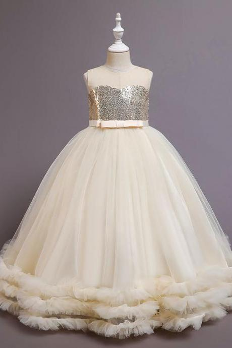 Champagne Ball Gown Flower Girl Dresses for Wedding Party Sequins Tulle Pleat Bow Floor Length O-neck Girls Pageant Prom Dress