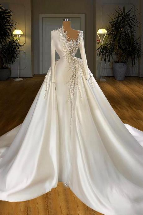 Satin Beaded Pearls Wedding Dresses With Detachable Skirt Long Sleeves Beading Bridal Gowns Wedding Gowns