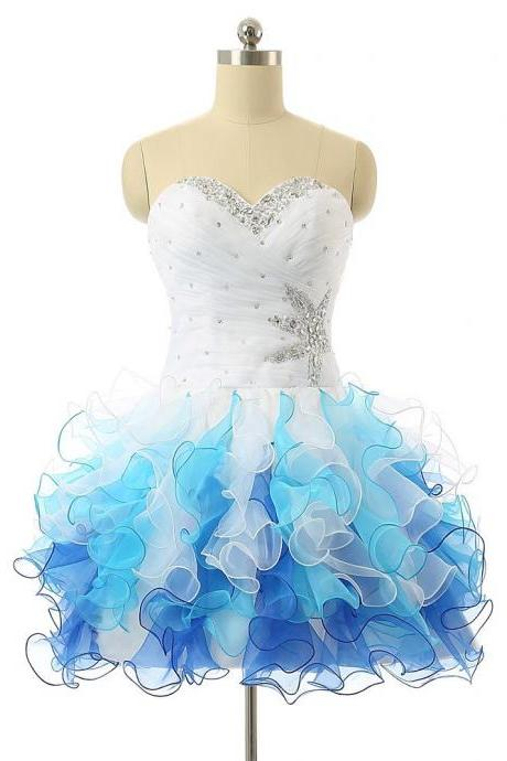 Sweetheart Blue And White Organza Puffy Short Graduation Prom Dresss Crystals Homecoming Coctkail Party Dress With Lace Up Back
