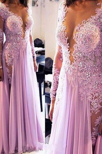 Lilac Long Prom Dresses Long Sleeves Deep V Neck Lace Beaded Chiffon Sexy Evening Gowns with Lace Appliques Beads