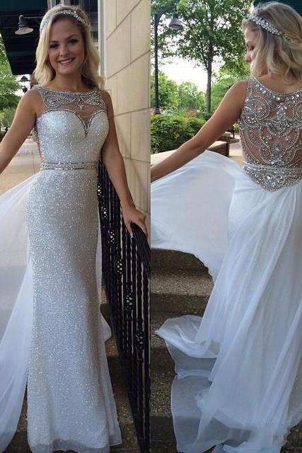 Fashion Straight White Sequins Prom Dresses Custom Beaded Crystal Scoop Neck Floor Length Formal Evening Gowns