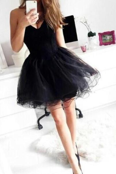 Sweetheart Short Tulle Homecoming Dresses Black Sexy Prom Dresses 2016 New Cocktail Dresses Party Gowns