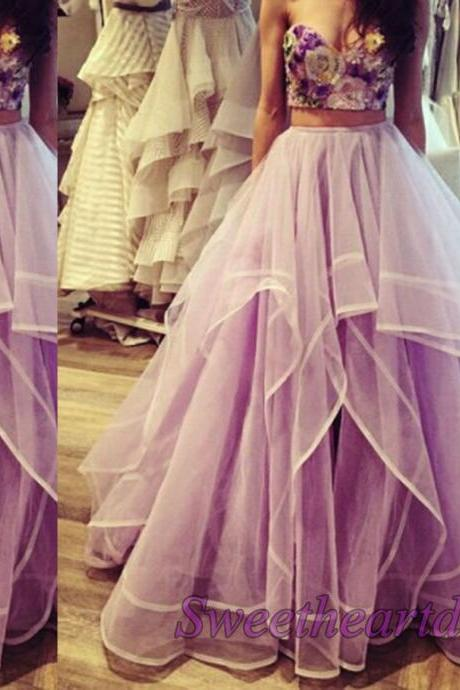 Amazing Lavender Two Pieces Prom Dresses Sweetheart Embroidery Floor Length Prom Gowns Ball Gown Party Dress