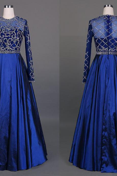 2016 New Royal Blue Beading Sequins Long Sleeves Prom Dress See Through Dress Floor Length Formal Evening Party Dresses