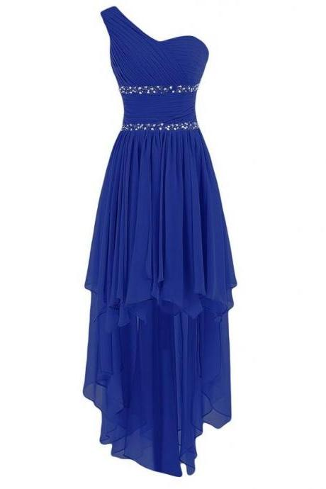 2016 Elegant Royal Blue One Shoulder Evening Dresses Pleat Beads Prom Dresses High Low Chiffon Evening Gowns Formal Party Dress