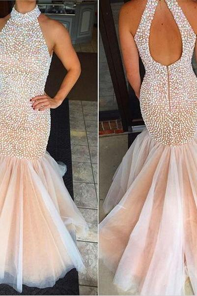 Sexy Prom Dresses,Mermaid Beaded Prom Dress,Backless Evening Dresses,Open Back Evening Gowns,Long Party Dresses,Party Gowns