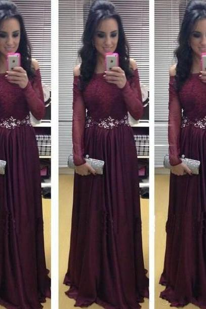 New Arrival Long Sleeve Floor-Length Charming Prom Dresses,A-Line Lace Satin Chiffon Floor-Length Evening Dresses,Off the Shoulder Prom Dress Gowns