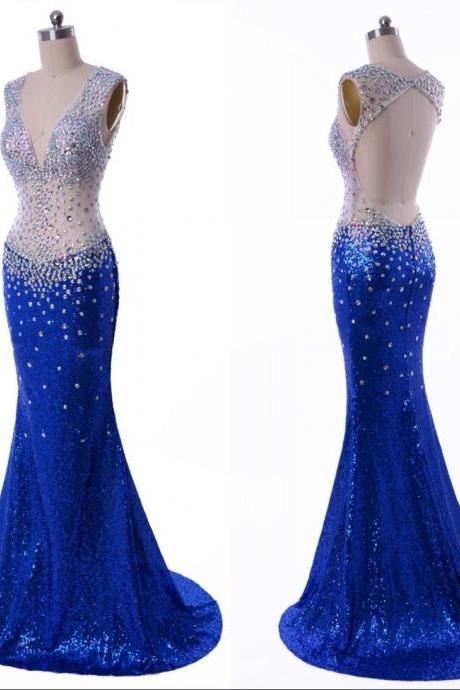Royal Blue Sexy Mermaid Prom Dresses Sheer V Neck Backless Evening Party Dresses Crystals Sequins Long Formal Gowns
