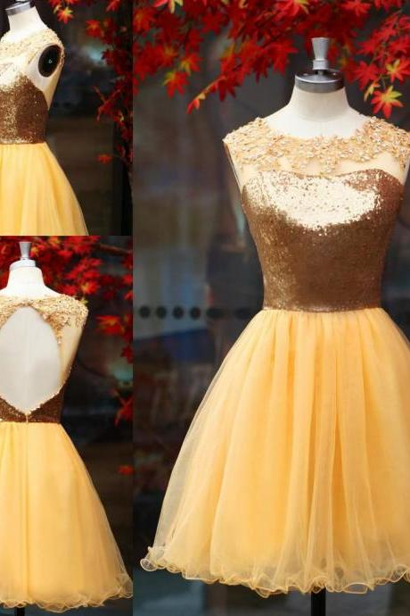 2016 New Gold Short Homecoming Dresses A Line Backless Sequins Lace Appliques Prom Party Dress Girls Graduation Dress