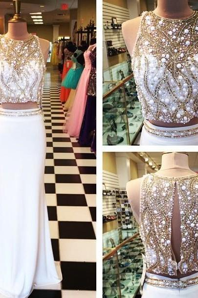 Two Pieces Prom Dresses, White Prom Dress, Sexy Prom Dresses, Beaded Prom Dresses, 2016 Prom Dresses, Sexy Party Dresses for Formal Occasion