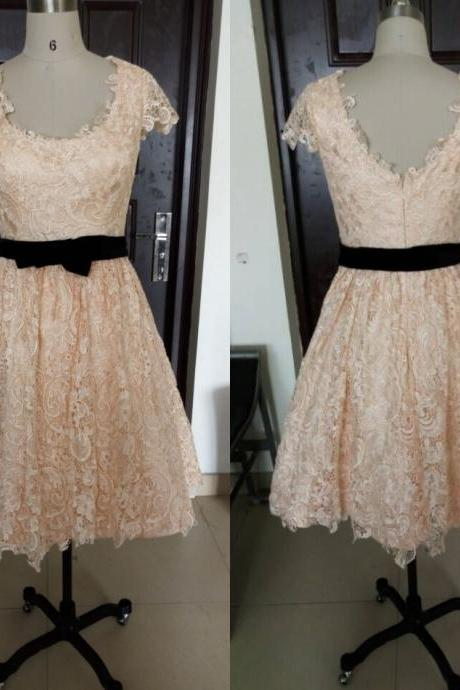 Charming Champagne Lace Cap Sleeve Prom Party Dresses 2016 Elegant Knee Length A Line Plus Size Celebrity Dresses Gala