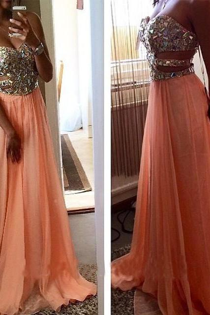 2016 Sexy Coral Prom Dresses A Line Long Chiffon Prom Dresses Sweetheart Crystals Sequins Party Dresses Backless Graduation Dress