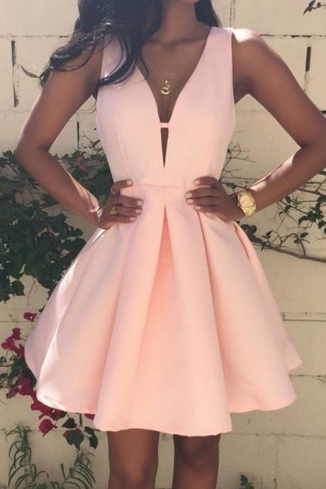 Satin Prom Dresses ,Hot Sale Party Dresses,Charming Prom Dress,Pearl Pink Homecoming Dresses,Backless Homecoming Dresses,V Neck Cheap Graduation Dresses