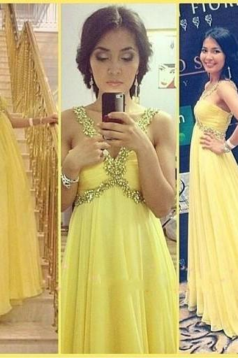 Elegant Yellow V Neck Cheap Long Prom Dresses 2016 Evening Dress Simple Chiffon Graduation Dresses Backless Cheap Prom Gowns